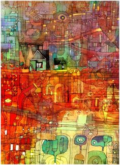 wish I had a credit for this - reminds me of Hundertwasser