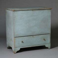 Blue-painted Shaker Blanket Chest over Drawer, possibly Watervliet, New York, early 19th century, the molded lift-top above a deep well and drawer below, on cutout base, original paint, ht. 40 1/2, case wd. 38 1/2, case dp. 20 3/4 in.