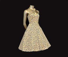 vintage 50's polka dot flower applique tea length wedding dress $168