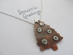 Christmas tree necklace in copper and sterling silver by JoDeneMoneuseJewelry, $65.00