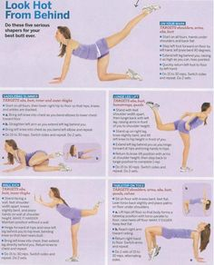 Look hot from Behind  (Booty workout)  - On your mark  - Saddlebag Slimmer  - Lunge Leg Lift  - Wall Kick  - Tabletop on Toes