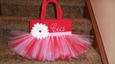 Too Cute  Red and Pink Kitty Themed Tutu Bag by bashergirl on Etsy, $30.00