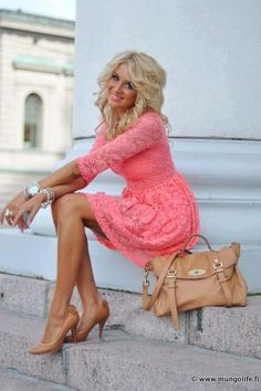 Melon pink lace dress, nude pumps and bag