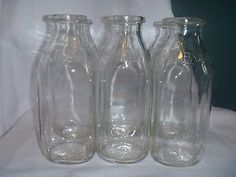 Set of 6 Vintage Clear Glass Quart Milk Jugs Bottles Universal Dairy Jackson MI | eBay
