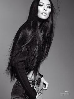 liu wen, model, fashion, straight hair, shiny hair, long hair, liuwen, beauti, v magazine