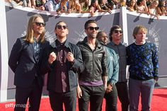 Recording artists Maroon 5 attend the 2014 MTV Video Music Awards at The Forum on August 24, 2014 in Inglewood, California. (Photo by Frazer Harrison/Getty Images)