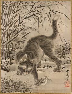 Kawanabe Kyôsai (Japanese, 1831–1889). Cat Catching a Frog, 19th century. Meiji period (1868–1912). Japan. The Metropolitan Museum of Art, New York. Charles Stewart Smith Collection, Gift of Mrs. Charles Stewart Smith, Charles Stewart Smith Jr., and Howard Caswell Smith, in memory of Charles Stewart Smith, 1914 (14.76.61.20) #cats