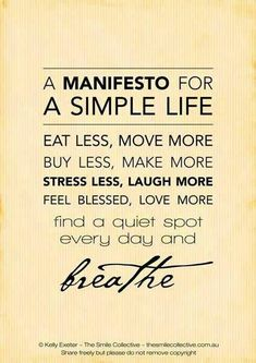 manifesto for a simple life #happy