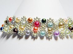 Confetti Pearl Bobbles Glass Pearl Bracelet by WhimsyBeading, $40.00
