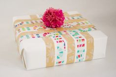 Oh Joy | How to use leftover wrapping paper scraps to wrap a new pretty package!