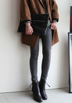 boyfriend coat, fashion, ankle boots, outfit, black boots, jeans, camels, grey, coats