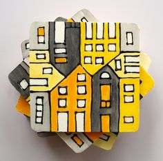 wood tile coasters hand painted yellow & grey #housewares #coaster #home #decor #kitchen #serving #table #handmade #puzzle #house #yellow #grey #art #architecture $30.00