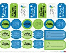 Birthday gift tags, Cupcake toppers, cake pop tags, etc. Free printables from CandiQuik