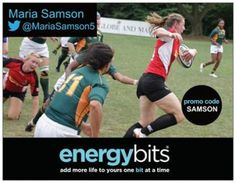 "MARIA SAMSON: Maria is a Montreal born Women's Canada Rugby National Team athlete. Maria was named the athlete of the year in 2012. She has also received the Colette McAuley Award for 2013! ""BITS are a clean and simple way of getting that extra energy boost through your workout. Being able to train at the highest level is extremely important and I believe BITS help me do just that."""