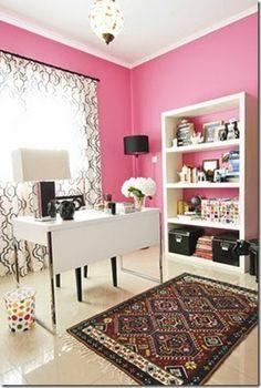 a pink office, love it!