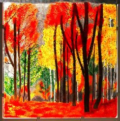 Autumn Fused Glass Forest - Home Decor - Mother's Day Gift - Woodland