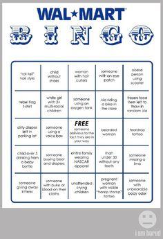 WalMart bingo card.  I love this!