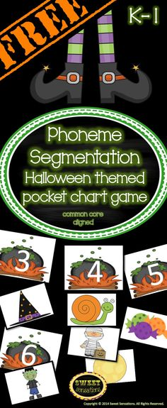 Phoneme Segmentation Halloween Themed pocket chart game for Kindergarten and First Grade - FREE!!!