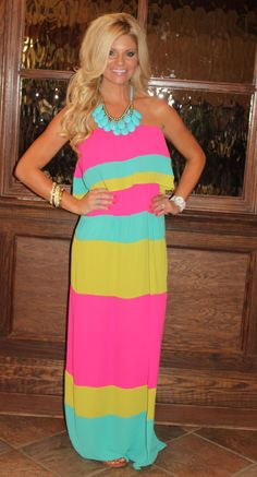 #colorblock maxi with statement necklace  Fringe Dress #2dayslook #FringeDress  #susan257892 #jamesfaith712  www.2dayslook.com