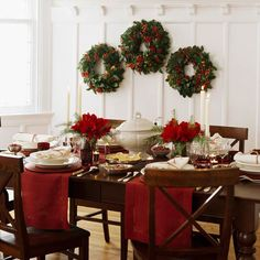 This is a beautiful holiday table without using a table cloth. | #christmas #xmas #holiday #decorating #decor