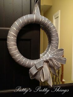 black and white stripe ribbon wreath. looks so classy! idea, craft, front door, ribbons, white stripe, simpl wreath, stripes, ribbon wreaths, black