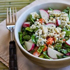 Crunchy Chopped Salad with Gorgonzola and Radishes; I love everything about this crunchy salad.  I like it with all these ingredients, but skip the carrots for a lower-carb or South Beach Diet Phase One salad. [from Kalyn's Kitchen] #SummerSalad #LowCarb #GlutenFree #SouthBeachDiet #Gorgonzola