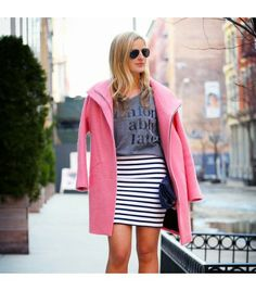 textur coat, pink coat, mini skirts, stripe skirt