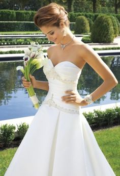 Wedding Dresses - Satin Box Pleated Wedding Dress with Chapel Train from Camille La Vie and Group USA