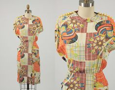 1940s dress/ 40s rayon/ Bakelite buttons by shopKLAD on Etsy, $210.00