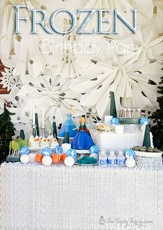 complete Frozen birthday party with themed food crafts and fun #disneyside #frozenfun #topsyturvyparties by imtopsyturvy.com, via Flickr