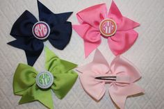 Monogrammed Hair Bows for Little Girls . . . &  Big Girls. $7.50, via Etsy.