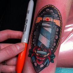 Incredibly small Lighthouse Tattoo!!! SO GOOD.   A little Jenn tattoo. Blood Sweat and Tears Tattoo Shop