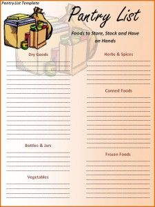 Pantry List Template