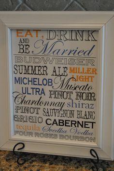 Printable Bar/Drink Menu Sign - Wedding. $15.00, via Etsy.