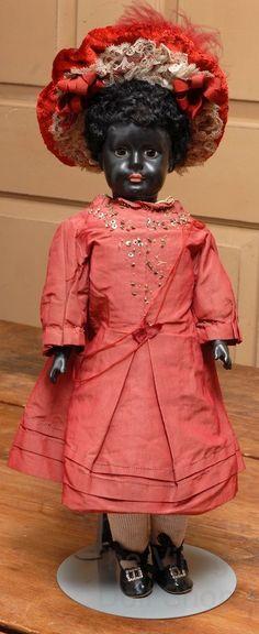 16 Unusual Black Sonneberg Child Doll from beckysbackroom on Ruby Lane