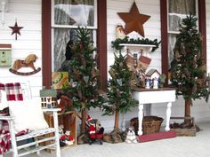 ~Rustic Country Christmas on my front porch~~, Found all my decorations at the flea market and some were given to me by a friend. I wanted t...