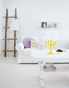 White with a pop of yellow