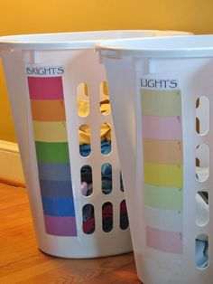 DIY Laundry Sorting Station Using Paint Chips! [Tutorial] : great way to teach kids to sort their own laundry!