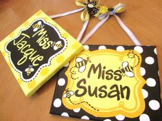 Bumble Bee Themed Name Plaque/Sign for Teachers, offices, nurseries, bedrooms, businesses and more via Etsy