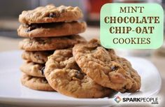 Mint Chocolate Chip Cookies: Just 69 calories each. made with oats, whole wheat flour and other good stuff! | via @SparkPeople #food #recipe #dessert #holiday #Christmas