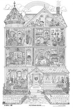victorian house coloring pages | Doodle Art Victorian House Coloring Page Poster B