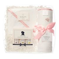 Darling gift set featuring SwaddleDesigns Hooded Towel & Wash cloths and  Noodle & Boo essentials - Pastel Pink #babygift