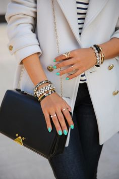 Repin if you love a good arm party on your wrist! bracelet, nail colours, fashion, nail polish, spring colors, accessori, outfit, green nails, blue nails
