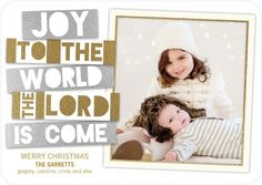 Saintly Strips - Flat Holiday Photo Cards - Sarah Hawkins Designs - Gilded - Brown : Front