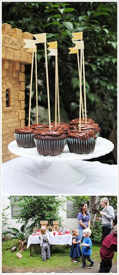 Cupcakes para una fiesta medieval / Medieval cupcakes! flag, knights, birthday parties, knight parti, birthdays, medieval cupcake, parti idea, birthday knight, themed parties