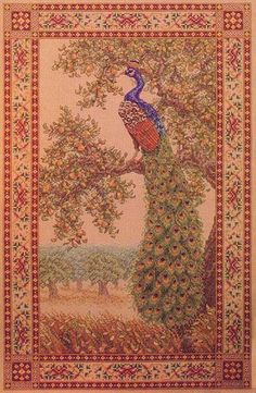 "Peacock Tapestry by Teresa Wentzler. Perhaps my favourite cross stitch piece ever. In my ""stitch before I die"" list."