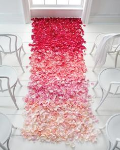 Ombre rose petals in shades of pink.  Good idea. I'd do the same but fade from blue to purple to pink.