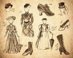boot, steampunk fashion, fashion sketches, art, old school
