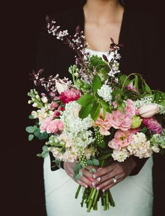 Loose bouquet of pink flowers #wedding #bouquet