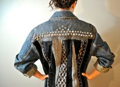 Upcycled Levi's denim jacket quilted back with studs, antique laces and trims. Girls XL/Women's M-L